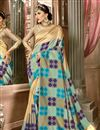 image of Weaving Work Border And Blouse With Cream Party Wear Saree In Art Silk Fabric