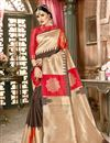 image of Occasion Wear Art Silk Fabric Saree In Chikoo With Weaving Work Border And Blouse