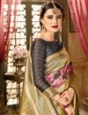 photo of Cream Art Silk Fabric Party Wear Saree With Weaving Work Border And Blouse