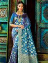 image of Impressive Party Wear Blue Color Designer Traditional Silk Weaving Work Saree