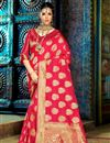 image of Ravishing Pink Color Designer Party Wear Saree In Traditional Silk Fabric With Weaving Work