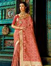 image of Attractive Designer Traditional Silk Party Wear Saree In Pink Color With Matching Blouse