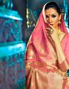 photo of Impressive Party Wear Pink Color Designer Traditional Silk Weaving Work Saree