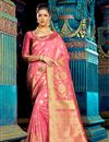 image of Impressive Party Wear Pink Color Designer Traditional Silk Weaving Work Saree
