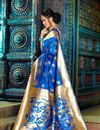photo of Impressive Party Wear Blue Color Designer Traditional Silk Weaving Work Saree