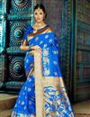 image of Impressive Party Wear Blue Color Designer Traditional Silk Weaving Work Saree