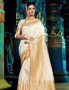 image of Ravishing Off White Color Designer Party Wear Saree In Traditional Silk Fabric With Weaving Work