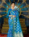 image of Attractive Designer Traditional Silk Party Wear Saree In Blue Color With Matching Blouse