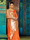 photo of Impressive Party Wear Orange Color Designer Traditional Silk Weaving Work Saree