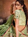 photo of Sea Green Color Festive Wear Satin Fabric Fancy Embroidery Work Saree