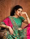 photo of Satin Fabric Party Wear Rani Color Fancy Embroidery Work Saree