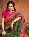 photo of Banarasi Silk Fabric Sangeet Wear Green Color Embroidery Work Fancy Saree