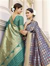 photo of Fancy Art Silk Fabric Puja Wear Cyan Color Weaving Work Saree
