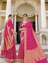 image of Rani Color Sangeet Wear Fancy Art Silk Fabric Weaving Work Saree