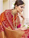 photo of Fancy Art Silk Fabric Function Wear Orange Color Weaving Work Saree