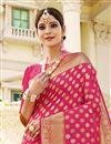 photo of Sangeet Wear Art Silk Fabric Weaving Work Saree In Rani Color