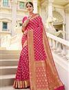 image of Sangeet Wear Art Silk Fabric Weaving Work Saree In Rani Color