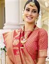 photo of Art Silk Fabric Party Wear Red Color Fancy Weaving Work Saree