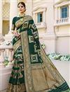 image of Art Silk Fabric Sangeet Wear Dark Green Color Weaving Work Fancy Saree