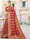 image of Sangeet Wear Red Color Art Silk Fabric Weaving Work Fancy Saree