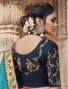 photo of Party Wear Chic Fancy Fabric Embroidered Sky Blue Color Saree