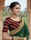 photo of Party Wear Fancy Fabric Chic Embroidered Saree In Dark Green Color