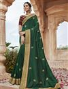 image of Party Wear Fancy Fabric Chic Embroidered Saree In Dark Green Color