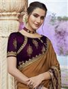 photo of Brown Color Party Wear Fancy Fabric Chic Embroidered Saree