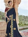 image of Party Wear Navy Blue Color Chic Fancy Fabric Embroidered Saree