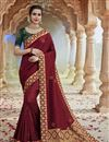image of Maroon Color Chic Party Wear Fancy Fabric Embroidered Saree