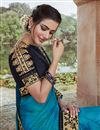 photo of Fancy Fabric Party Wear Sky Blue Color Chic Embroidered Saree