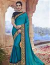 image of Fancy Fabric Party Wear Sky Blue Color Chic Embroidered Saree