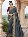 image of Fancy Fabric Party Wear Grey Color Chic Embroidered Saree