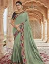 image of Party Style Fancy Fabric Chic Sea Green Color Embroidered Saree
