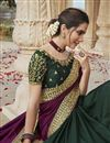 photo of Fancy Fabric Chic Party Style Dark Green Color Embroidered Saree