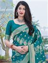 photo of Art Silk Fabric Teal Color Weaving Work Festive Wear Fancy Saree