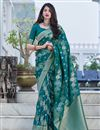 image of Art Silk Fabric Teal Color Weaving Work Festive Wear Fancy Saree