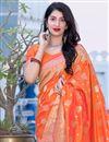 photo of Art Silk Fabric Orange Color Sangeet Wear Designer Weaving Work Saree