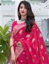 photo of Art Silk Fabric Rani Color Fancy Weaving Work Festive Wear Saree