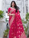 image of Art Silk Fabric Rani Color Fancy Weaving Work Festive Wear Saree