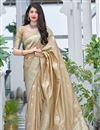 image of Designer Weaving Work Art Silk Fabric Beige Color Sangeet Wear Saree