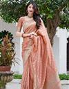 image of Peach Color Art Silk Weaving Work Reception Wear Saree
