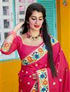 photo of Rani Color Party Wear Art Silk Fabric Chic Weaving Work Saree