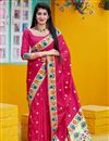 image of Rani Color Party Wear Art Silk Fabric Chic Weaving Work Saree