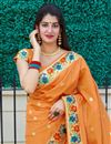 photo of Art Silk Fabric Party Wear Chic Weaving Work Saree In Orange Color