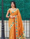image of Art Silk Fabric Party Wear Chic Weaving Work Saree In Orange Color