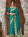 image of Party Wear Cyan Color Chic Art Silk Fabric Weaving Work Saree