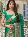 photo of Green Color Party Wear Chic Weaving Work Saree In Art Silk Fabric