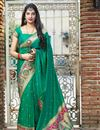 image of Green Color Party Wear Chic Weaving Work Saree In Art Silk Fabric