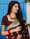 photo of Banarasi Silk Fabric Function Wear Trendy Weaving Work Saree In Maroon Color